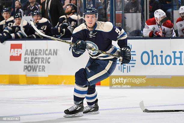Jeremy Morin of the Columbus Blue Jackets skates against the Montreal Canadiens on January 14 2015 at Nationwide Arena in Columbus Ohio Montreal...