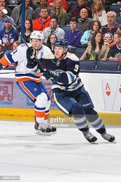 Jeremy Morin of the Columbus Blue Jackets skates against the New York Islanders on April 2 2015 at Nationwide Arena in Columbus Ohio Columbus...