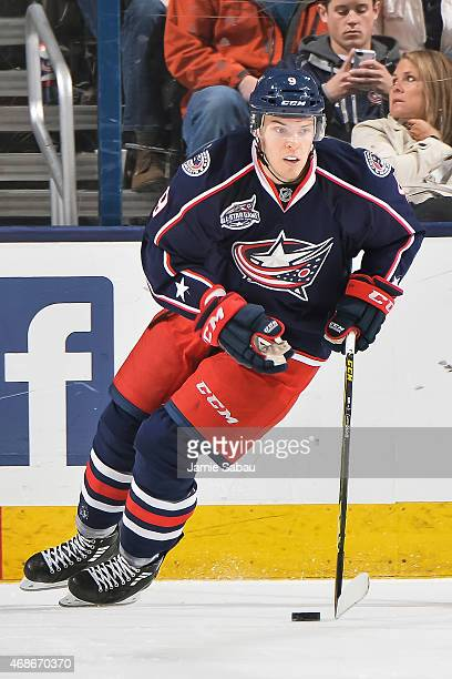 Jeremy Morin of the Columbus Blue Jackets skates against the Pittsburgh Penguins on April 4 2015 at Nationwide Arena in Columbus Ohio