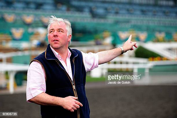 Jeremy Noseda watches as his horse works out in the morning in preparation for the Breeders Cup 2009 at the Santa Anita Racetrack on November 5 2009...