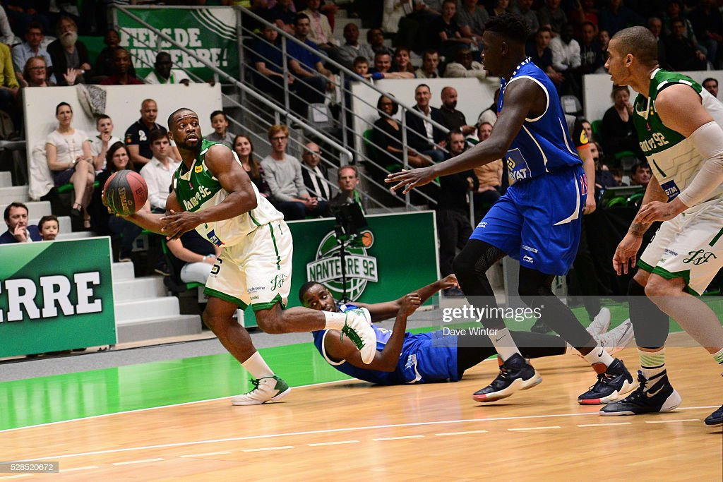 Jeremy Nzeulie of Nanterre during the basketball French Pro A League match between Nanterre and Paris Levallois on May 5, 2016 in Nanterre, France.