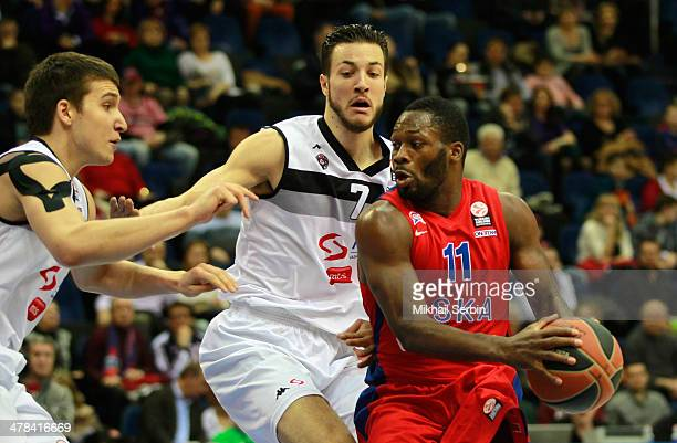 Jeremy Pargo #11 of CSKA Moscow competes with Joffrey Lauvergne #7 and Bogdan Bogdanovic #13 of Partizan NIS Belgrade in action during the 20132014...
