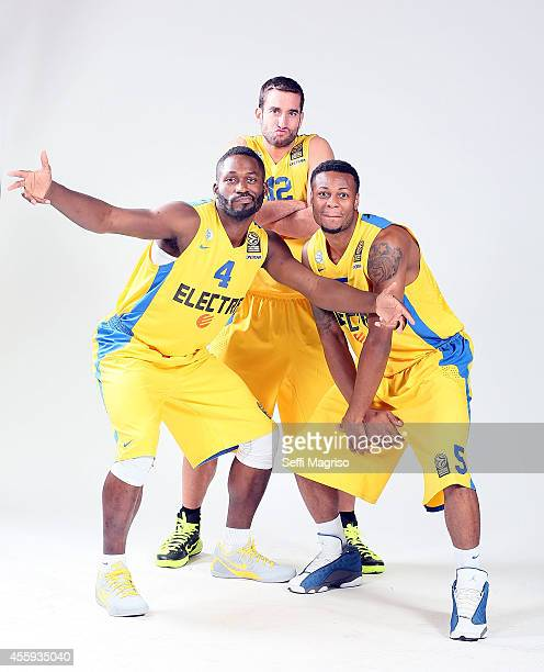 Jeremy Pargo #4 Yogev Ohayon #12 and Marquez Haynes #5 poses during the Maccabi Electra Tel Aviv 2014/2015 Turkish Airlines Euroleague Basketball...