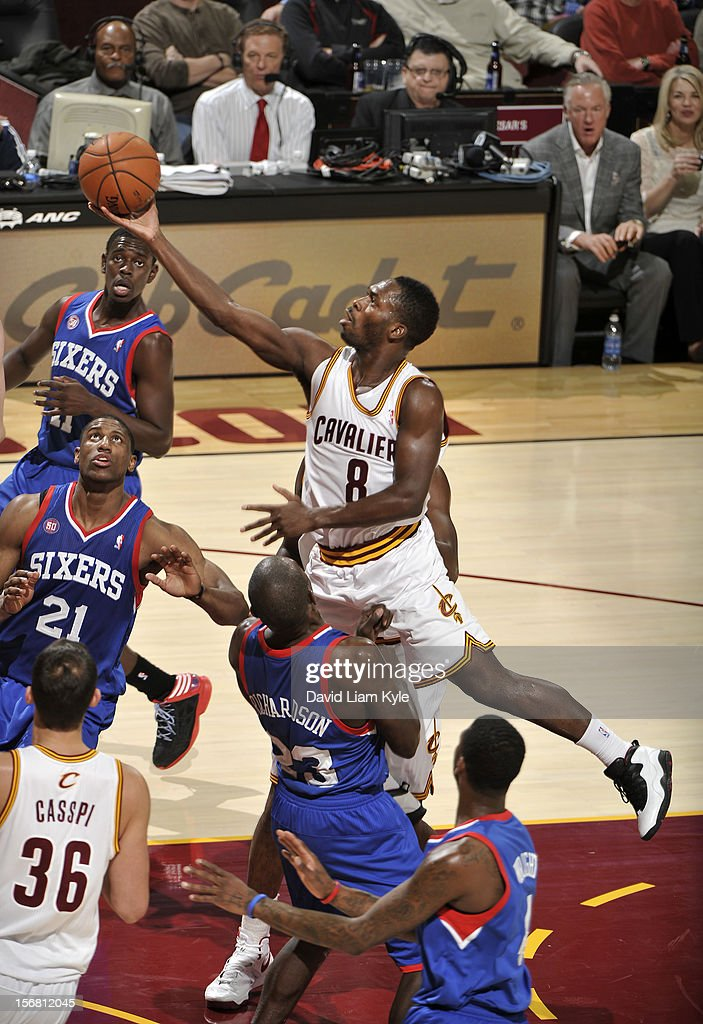 <a gi-track='captionPersonalityLinkClicked' href=/galleries/search?phrase=Jeremy+Pargo&family=editorial&specificpeople=732443 ng-click='$event.stopPropagation()'>Jeremy Pargo</a> #8 of the Cleveland Cavaliers drives to the basket against <a gi-track='captionPersonalityLinkClicked' href=/galleries/search?phrase=Jason+Richardson+-+Basketball+Player+-+Born+1981&family=editorial&specificpeople=201558 ng-click='$event.stopPropagation()'>Jason Richardson</a> #23 of the Philadelphia 76ers at The Quicken Loans Arena on November 21, 2012 in Cleveland, Ohio.