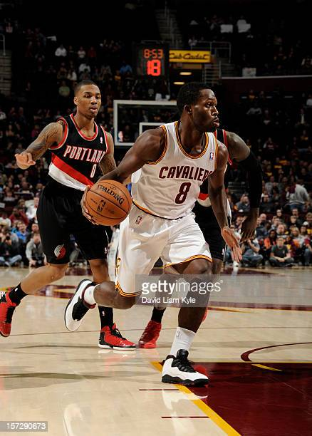 Jeremy Pargo of the Cleveland Cavaliers drives to the basket against Damian Lillard of the Portland Trail Blazers at The Quicken Loans Arena on...