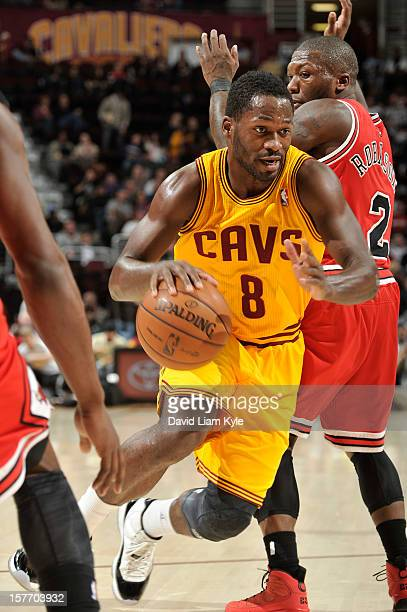 Jeremy Pargo of the Cleveland Cavaliers drives to the basket against Nate Robinson of the Chicago Bulls at The Quicken Loans Arena on December 5 2012...