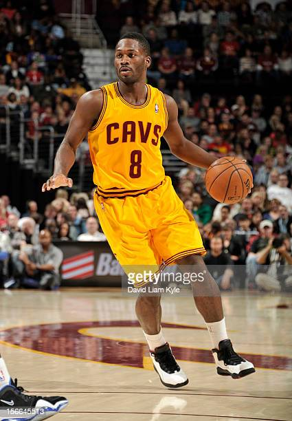 Jeremy Pargo of the Cleveland Cavaliers looks for an open teammate in the game against the Dallas Mavericks at The Quicken Loans Arena on November 17...