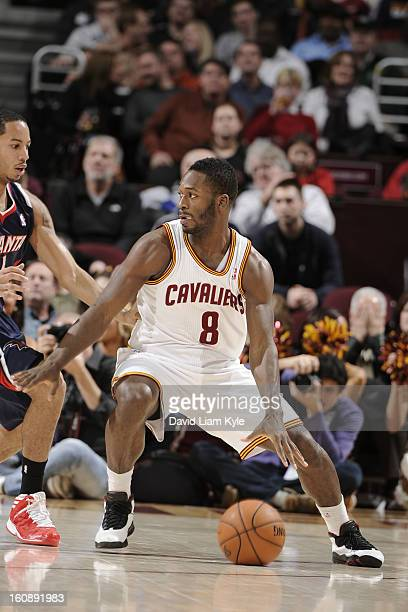 Jeremy Pargo of the Cleveland Cavaliers looks to drive to the basket against the Atlanta Hawks at The Quicken Loans Arena on January 9 2013 in...