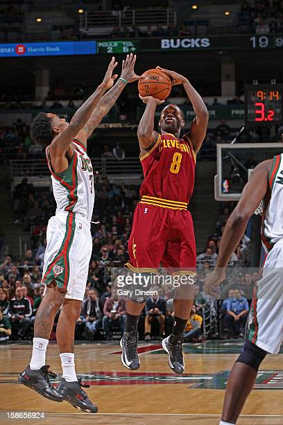 Jeremy Pargo of the Cleveland Cavaliers shoots against Brandon Jennings of the Milwaukee Bucks during the NBA game on December 22 2012 at the BMO...