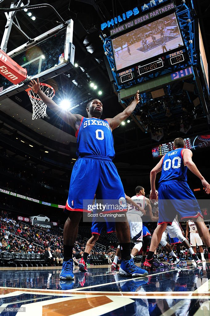 <a gi-track='captionPersonalityLinkClicked' href=/galleries/search?phrase=Jeremy+Pargo&family=editorial&specificpeople=732443 ng-click='$event.stopPropagation()'>Jeremy Pargo</a> #0 of the Philadelphia 76ers defends the inbound pass against the Atlanta Hawks on March 6, 2013 at Philips Arena in Atlanta, Georgia.