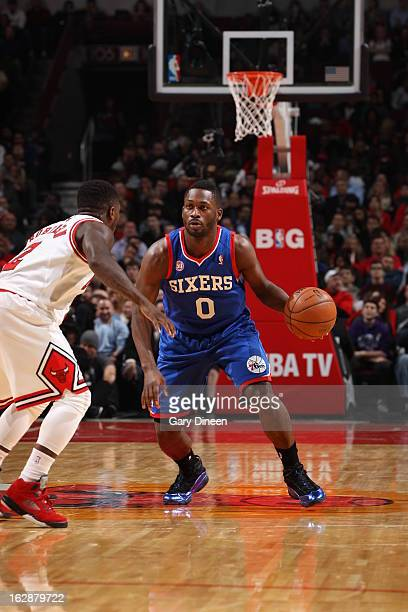 Jeremy Pargo of the Philadelphia 76ers dribbles the ball up the floor against the Chicago Bulls on February 28 2013 at the United Center in Chicago...