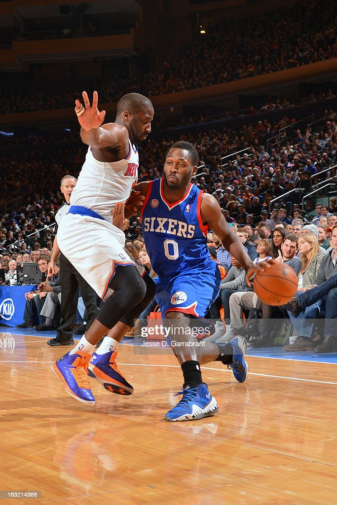 <a gi-track='captionPersonalityLinkClicked' href=/galleries/search?phrase=Jeremy+Pargo&family=editorial&specificpeople=732443 ng-click='$event.stopPropagation()'>Jeremy Pargo</a> #0 of the Philadelphia 76ers drives to the basket against the New York Knicks on February 24, 2013 at Madison Square Garden in New York City, New York.