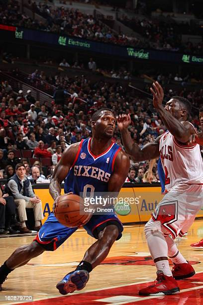 Jeremy Pargo of the Philadelphia 76ers drives to the hole against the Chicago Bulls on February 28 2013 at the United Center in Chicago Illinois NOTE...