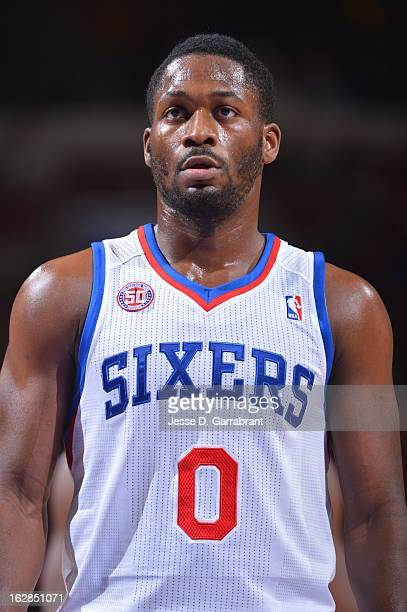 Jeremy Pargo of the Philadelphia 76ers stands on the court against the Orlando Magic at the Wells Fargo Center on February 26 2013 in Philadelphia...