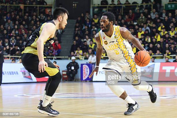 Jeremy Pargo of Zhejiang Lions drives the ball during the 37th round of the Chinese Basketball Association 15/16 game between Zhejiang Lions and...