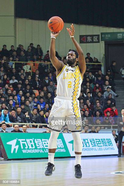 Jeremy Pargo of Zhejiang Lions shoots the ball during the 37th round of the Chinese Basketball Association 15/16 game between Zhejiang Lions and...
