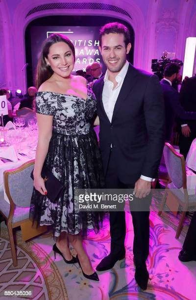 Jeremy Parisi and Kelly Brook attend the British Takeaways Awards in association with Just Eat at The Savoy Hotel on November 27 2017 in London...