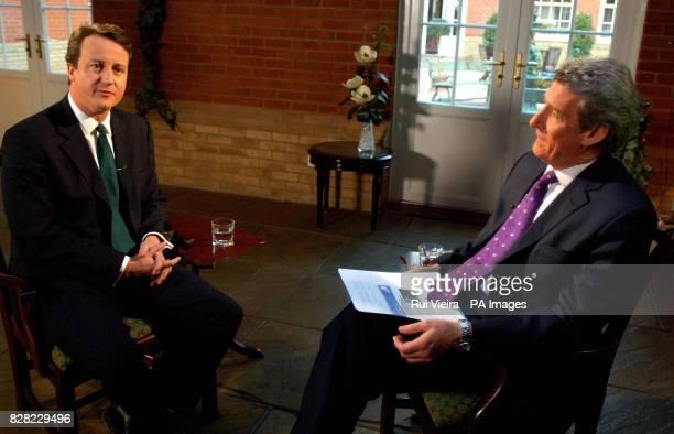 Jeremy Paxman interviews Conservative leadership contenter David Cameron at Whittlebury Hall Northampton