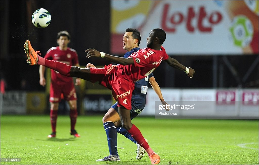 Jeremy Perbet (RAEC Mons) and Ismaila N'Diaye of KV Kortrijk pictured in action during the Cofidis match between K.V Kortrijk and RAEC Mons on November 28, 2012 in Kortrijk, Belgium.