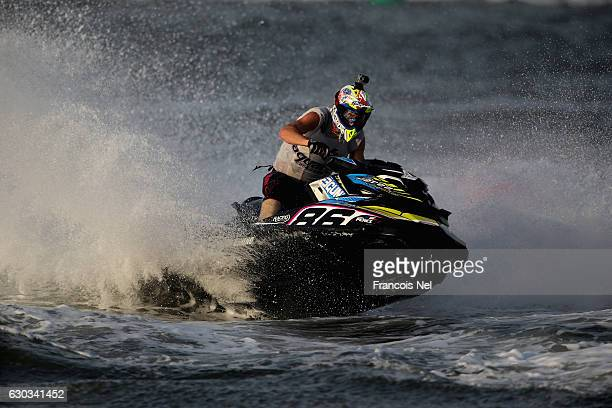 Jeremy Perez of France race in the Runabout GP1 final during the Aquabike Class Pro Circuit World Championships Grand Prix of Sharjah at Khalid...