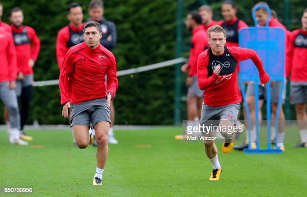 Jeremy Pied and Steven Davis during a Southampton FC training session at the Staplewood Campus on September 21 2017 in Southampton England