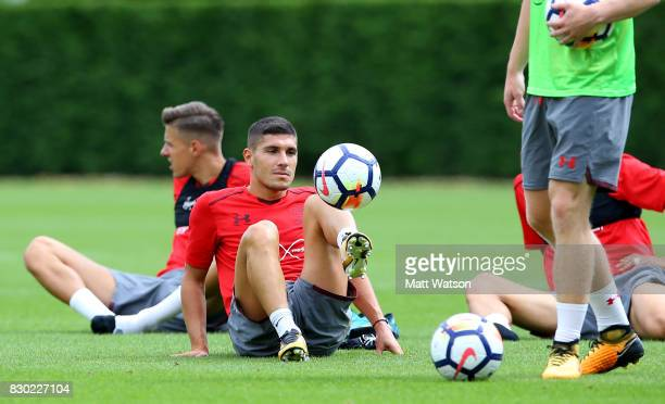 Jeremy Pied during a Southampton FC training session ahead of their opening game of the season against Swansea at the Staplewood Campus on August 11...
