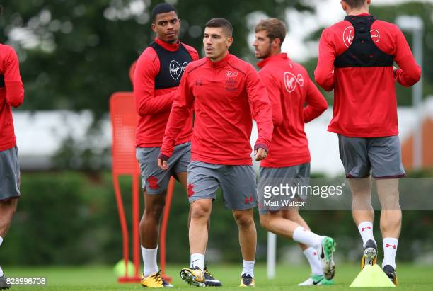 Jeremy Pied during a Southampton FC training session at the Staplewood Campus on August 9 2017 in Southampton England