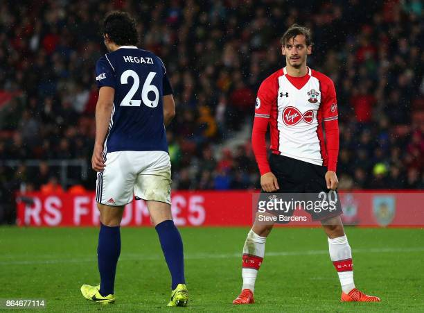Jeremy Pied of Southampton looks on during the Premier League match between Southampton and West Bromwich Albion at St Mary's Stadium on October 21...