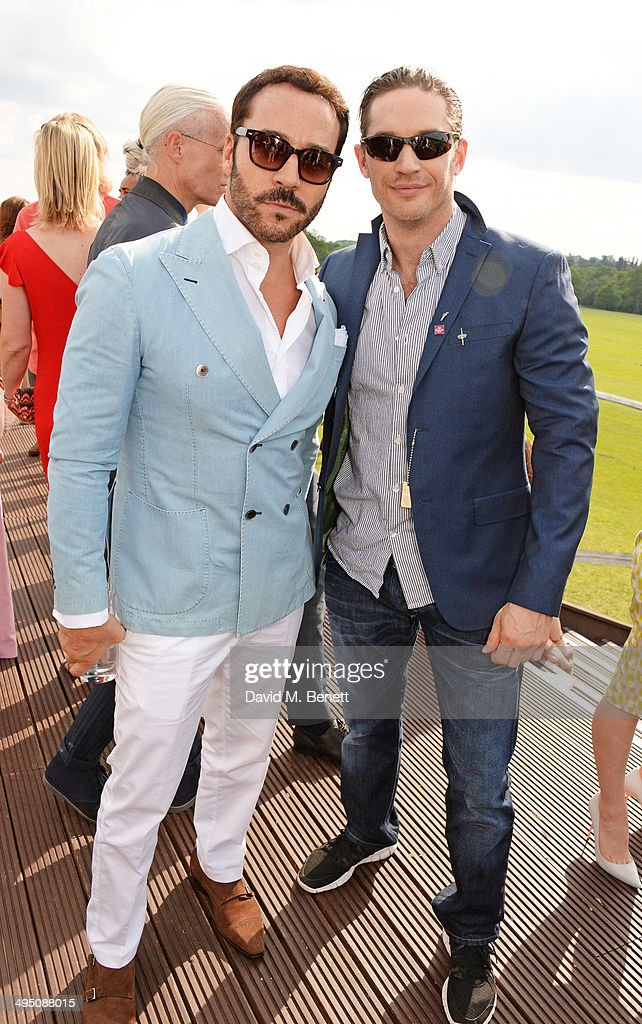 Jeremy Piven (L) and Tom Hardy attend day two of the Audi Polo Challenge at Coworth Park Polo Club on June 1, 2014 in Ascot, England.