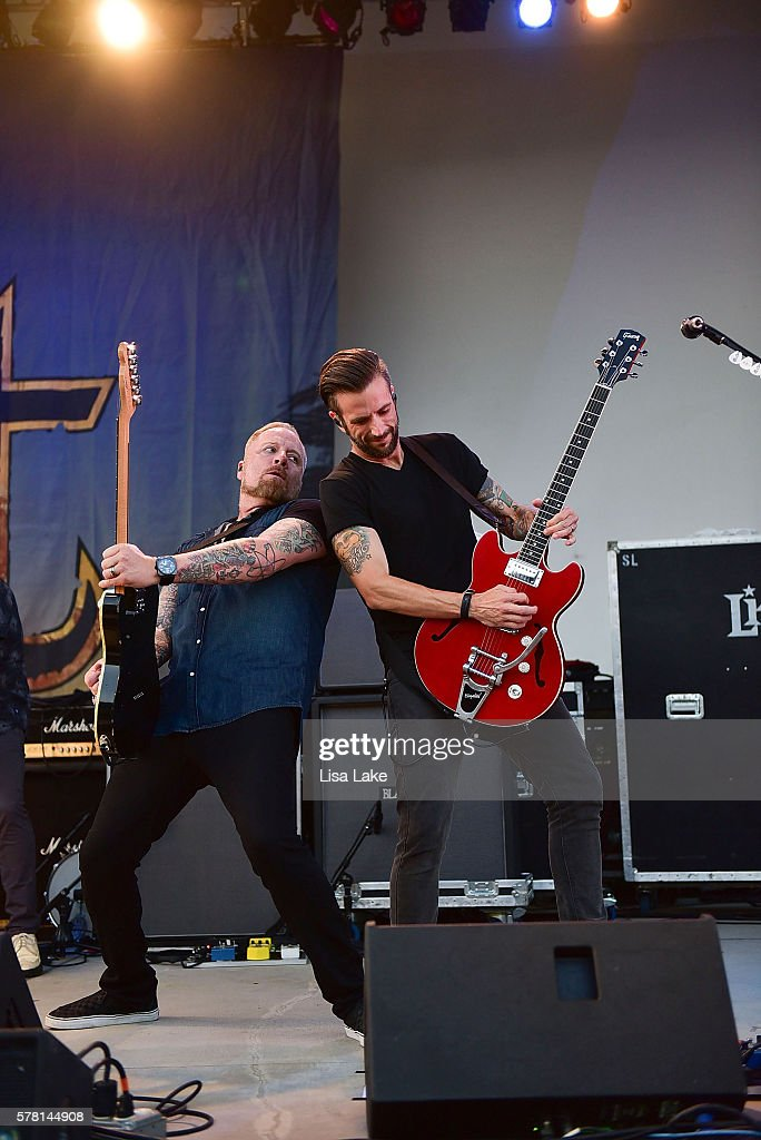 Jeremy Popoff and Ryan Gillmor of the band LIT performs during the Summerland Tour at SteelStacks Levitt Pavillion on July 20 2016 in Bethlehem...