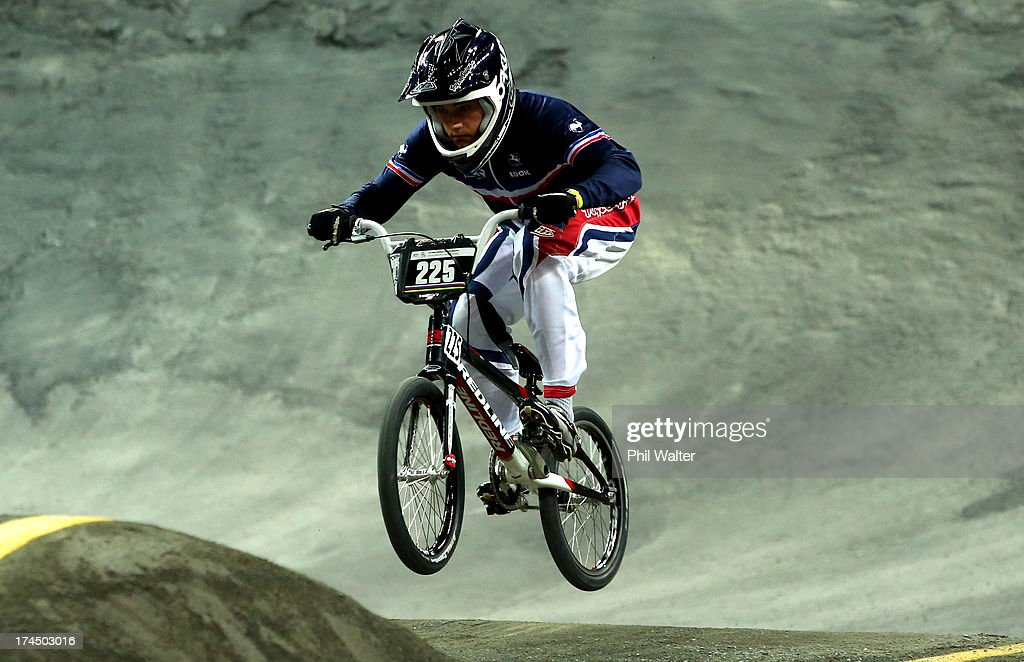 Jeremy Rencurel of France competes in the Junior Mens time trial during day four of the UCI BMX World Championships at Vector Arena on July 27, 2013 in Auckland, New Zealand.