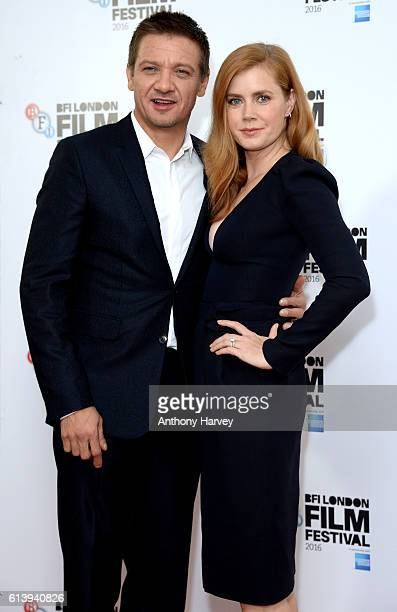 Jeremy Renner and Amy Adams attend the 'Arrival' photocall during the 60th BFI London Film Festival at Corinthia Hotel London on October 11 2016 in...