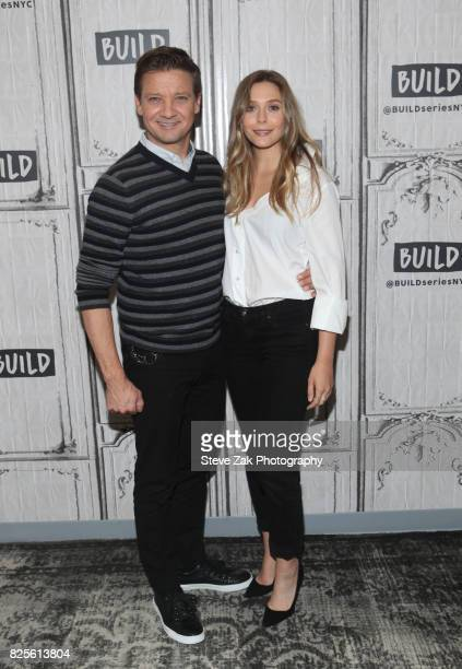 Jeremy Renner and Elizabeth Olsen attend Build Series to discuss 'Wind River' at Build Studio on August 2 2017 in New York City