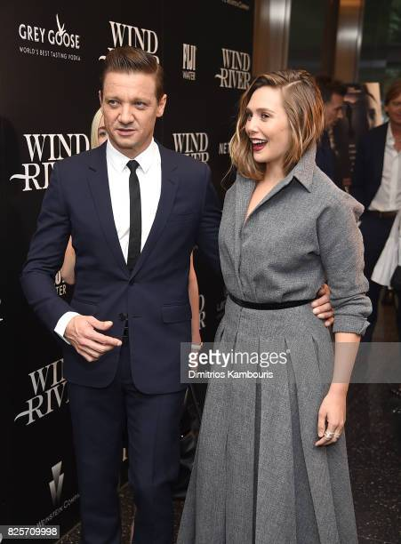 Jeremy Renner and Elizabeth Olsen attend the Screening Of 'Wind River' at The Museum of Modern Art on August 2 2017 in New York City
