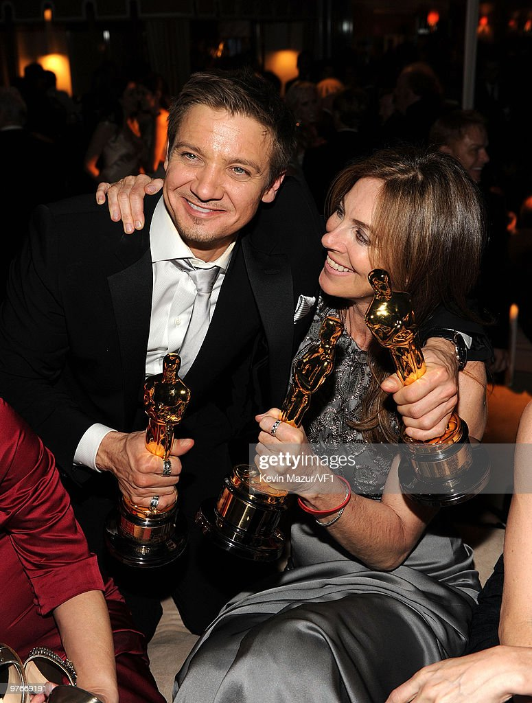 *EXCLUSIVE* Jeremy Renner and Kathryn Bigelow attends the 2010 Vanity Fair Oscar Party hosted by Graydon Carter at the Sunset Tower Hotel on March 7, 2010 in West Hollywood, California.