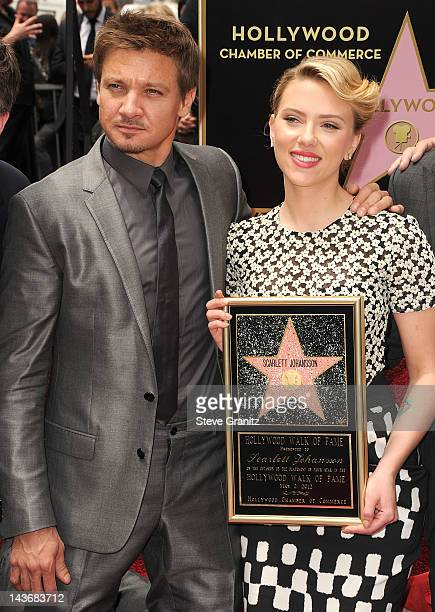 Jeremy Renner and Scarlett Johansson attends Hollywood Walk Of Fame Star Ceremony on May 2 2012 in Hollywood California