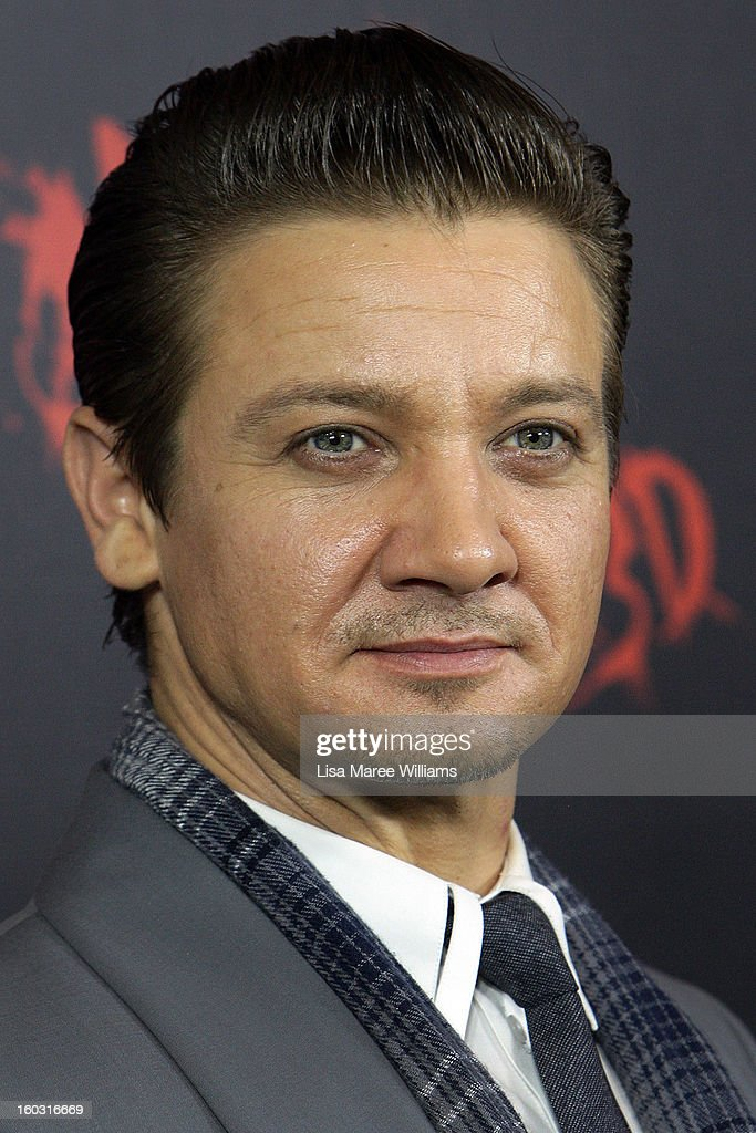 <a gi-track='captionPersonalityLinkClicked' href=/galleries/search?phrase=Jeremy+Renner&family=editorial&specificpeople=708701 ng-click='$event.stopPropagation()'>Jeremy Renner</a> arrives at the Australian Premiere of 'Hansel & Gretel Witch Hunters' at Event Cinemas on January 29, 2013 in Sydney, Australia.