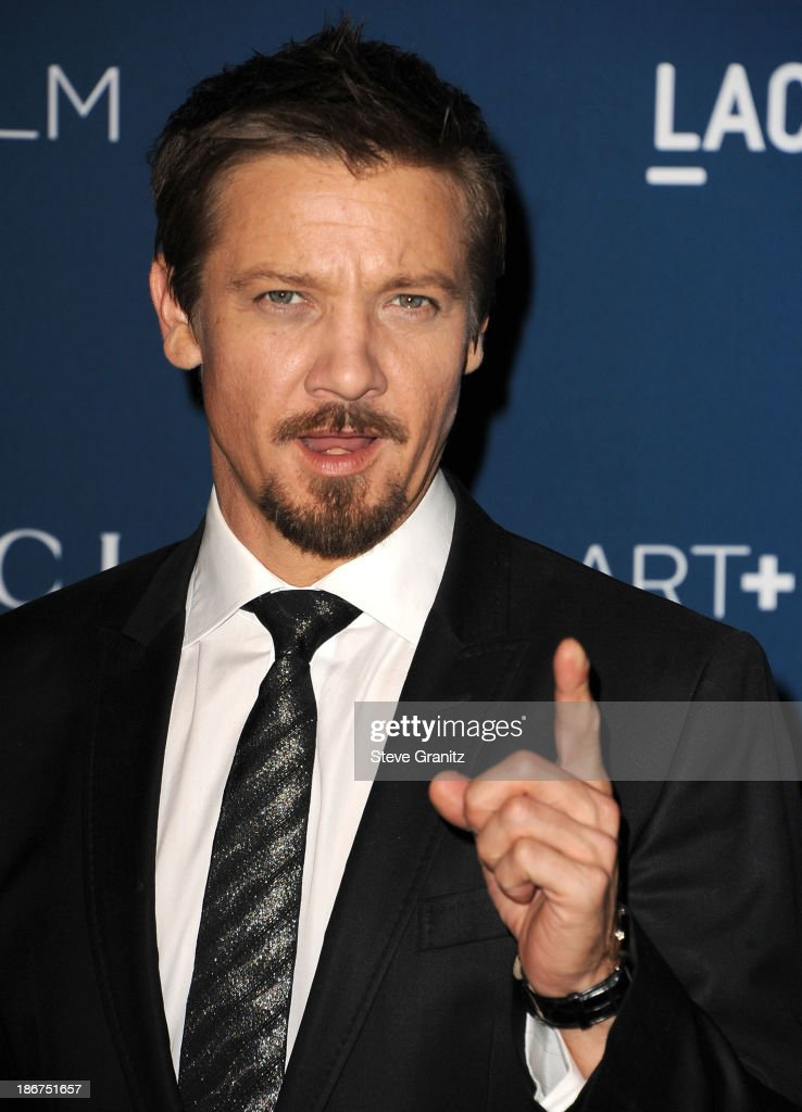 <a gi-track='captionPersonalityLinkClicked' href=/galleries/search?phrase=Jeremy+Renner&family=editorial&specificpeople=708701 ng-click='$event.stopPropagation()'>Jeremy Renner</a> arrives at the LACMA 2013 Art + Film Gala at LACMA on November 2, 2013 in Los Angeles, California.