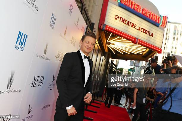 Jeremy Renner arrives at the Wind River Los Angeles Premiere Presented in Partnership with FIJI Water at Ace Hotel on July 26 2017 in Los Angeles...