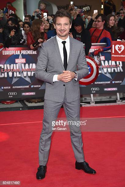 Jeremy Renner arrives for UK film premiere 'Captain America Civil War' at Vue Westfield on April 26 2016 in London England