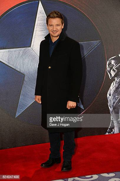 Jeremy Renner attends a photocall for 'Captain America Civil War' at Corinthia Hotel London on April 25 2016 in London England