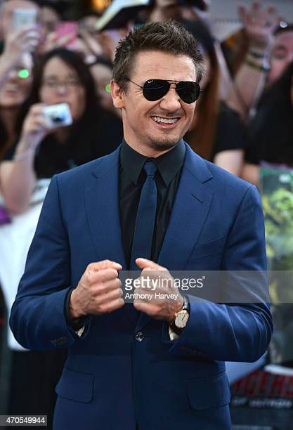 Jeremy Renner attends 'The Avengers Age Of Ultron' European premiere at Westfield London on April 21 2015 in London England