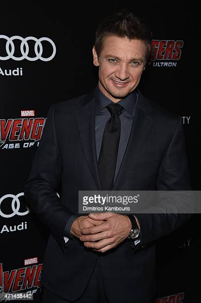 Jeremy Renner attends The Cinema Society Audi screening of Marvel's 'Avengers Age of Ultron' on April 28 2015 in New York City