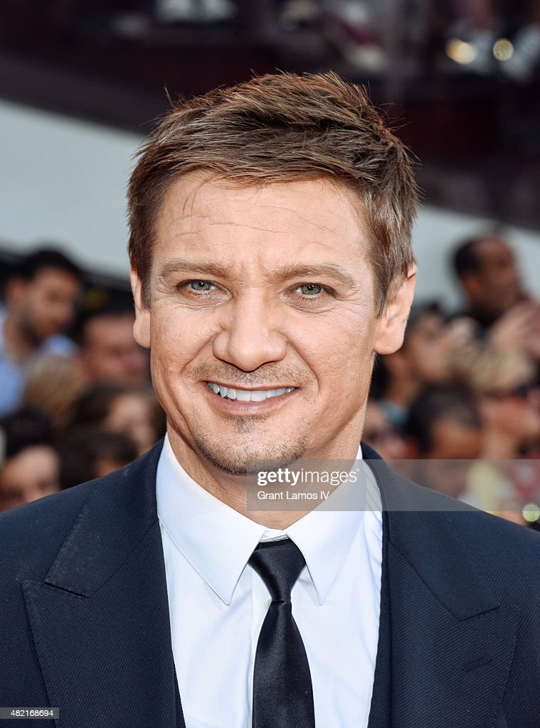 <a gi-track='captionPersonalityLinkClicked' href=/galleries/search?phrase=Jeremy+Renner&family=editorial&specificpeople=708701 ng-click='$event.stopPropagation()'>Jeremy Renner</a> attends the 'Mission Impossible - Rogue Nation' New York Premiere at Duffy Square in Times Square on July 27, 2015 in New York City.