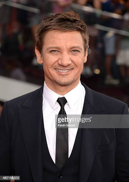 Jeremy Renner attends the New York premiere of 'Mission Impossible Rogue Nation' at Times Square on July 27 2015 in New York City