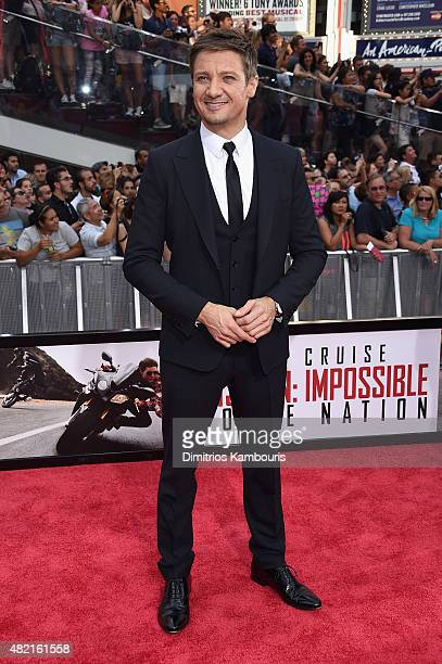 Jeremy Renner attends the New York premiere of Mission Impossible Rogue Nation at the AMC Lincoln Square in Times Square on July 27 2015 in New York...
