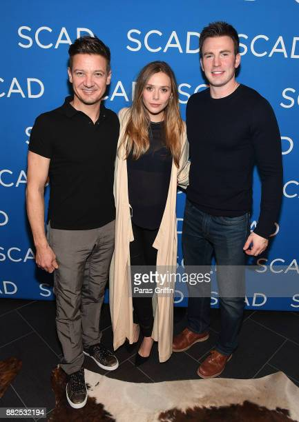 Jeremy Renner Elizabeth Olsen and Chris Evans attend 'Wind River' special screening at SCADShow on November 29 2017 in Atlanta Georgia