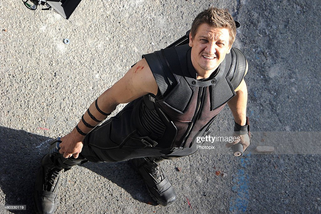 Jeremy Renner is seen filming on location for 'Avengers: Age of Ultron' on March 24, 2014 in Aosta, Italy.