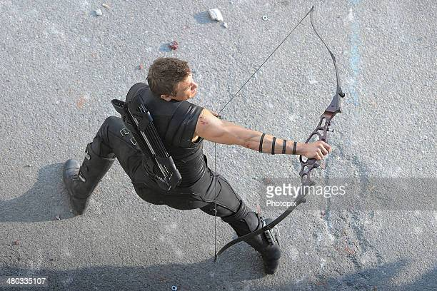 Jeremy Renner is seen filming on location for 'Avengers Age of Ultron' on March 24 2014 in Aosta Italy