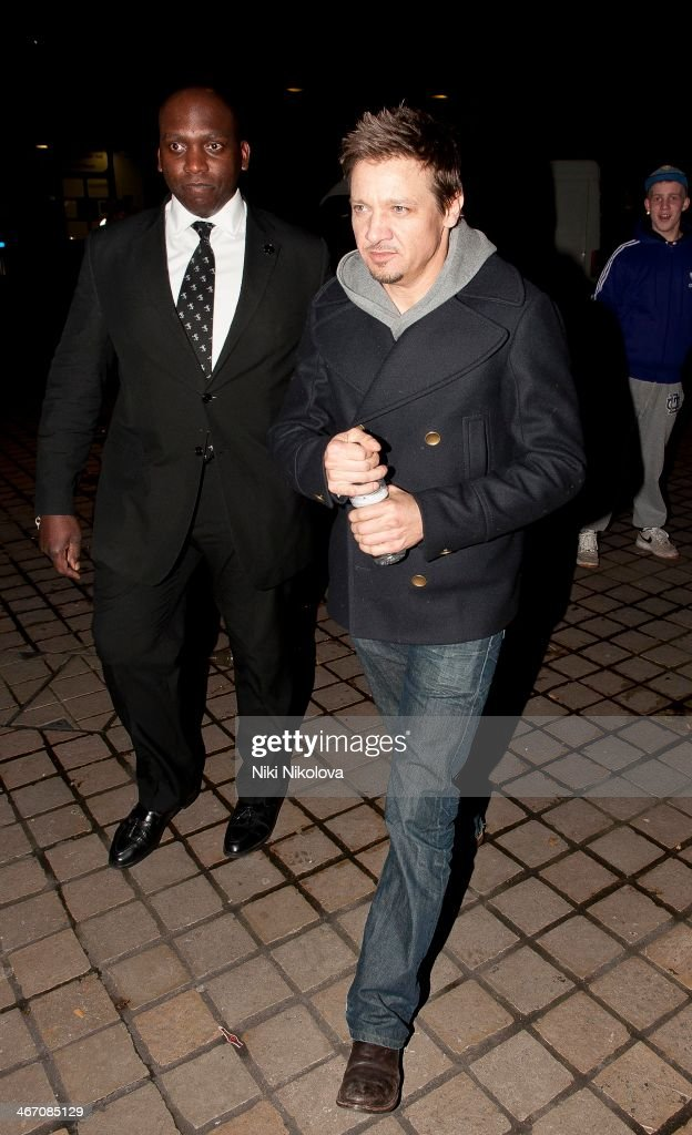 <a gi-track='captionPersonalityLinkClicked' href=/galleries/search?phrase=Jeremy+Renner&family=editorial&specificpeople=708701 ng-click='$event.stopPropagation()'>Jeremy Renner</a> is seen leaving the Royal Festival Hall, South Bank on February 5, 2014 in London, England.